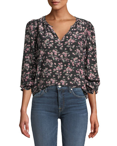 Tilda Floral Shirred Long-Sleeve Charmeuse Top