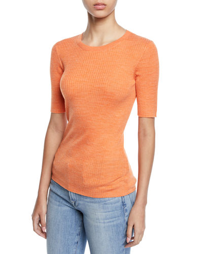 Short-Sleeve Ribbed Crewneck Sweater