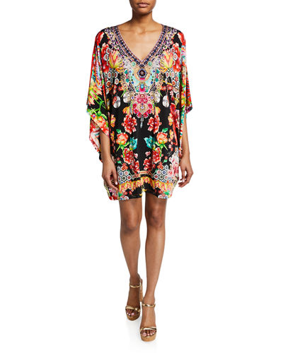 Embellished Bat-Sleeve Kaftan Dress, One Size