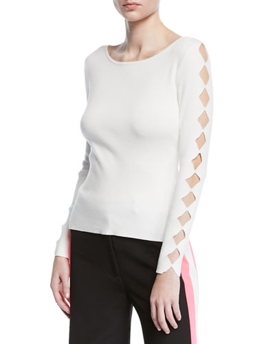 Long-Sleeve Pullover w/ Scalloped Cutouts