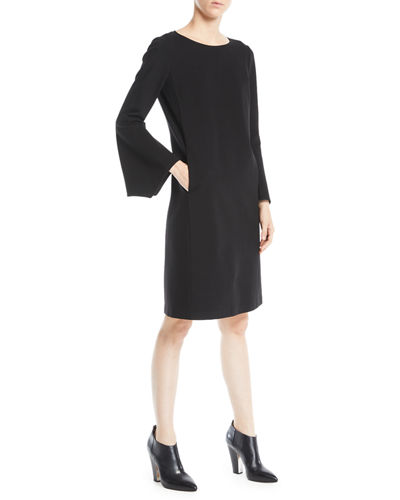 Plus Size Paloma Punto Milano Dress w/ Trumpet Sleeves