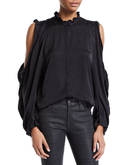 7 For All Mankind COLD-SHOULDER RUFFLE BUTTON-FRONT TOP