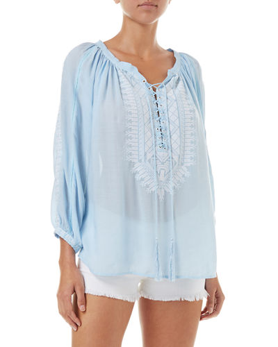 ee6db9a9a8450 Melissa Odabash Simona Lace-Up Embroidered Top