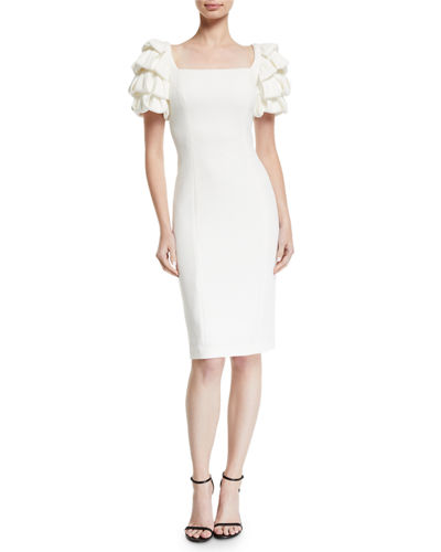Square-Neck Cocktail Dress w/ Looped Sleeves