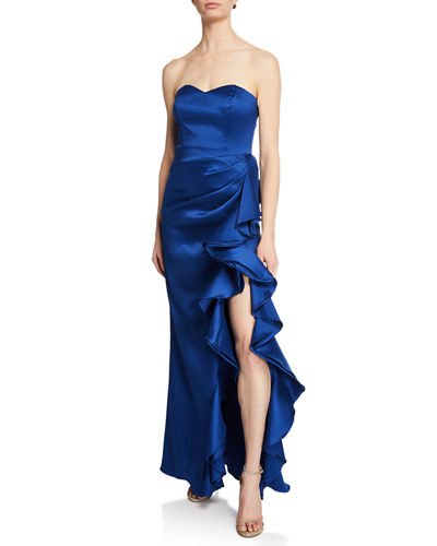 Strapless Column Gown w/ Bustier Bodice & Side Ruffle