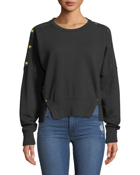 Hudson SNAP COTTON CREWNECK PULLOVER SWEATER