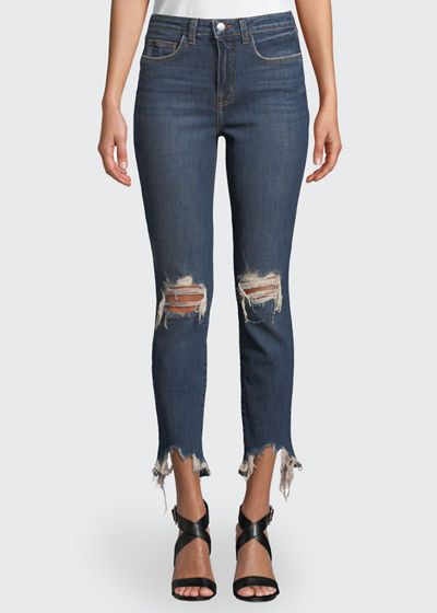 High Line High-Rise Distressed Skinny Jeans with Shredded Hem