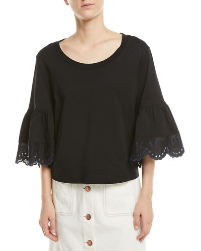 8fecd24d05e685 Lace-Cuff Cotton Top Quick Look. See by Chloe