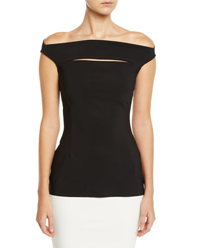 Karen Slit-Front Off-the-Shoulder Top