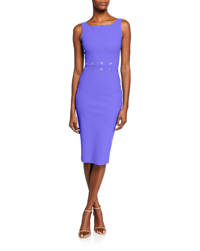 Maria Iris Boat-Neck Sleeveless Grommet-Waist Dress