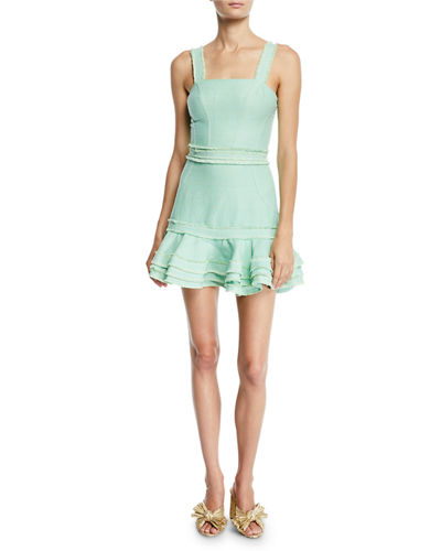 Judith Linen Sleeveless Ruffle Mini Dress