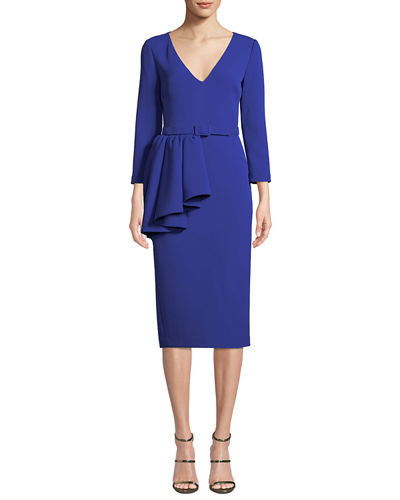 V-Neck 3/4-Sleeve Asymmetric Peplum Sheath Dress w/ Belt