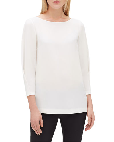 Lafayette 148 New York Caddie Boat-Neck Blouse w/