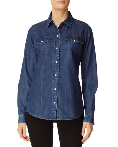 SELX Men Washed Slim Button Front Ruched Long Sleeve Solid Denim Shirt
