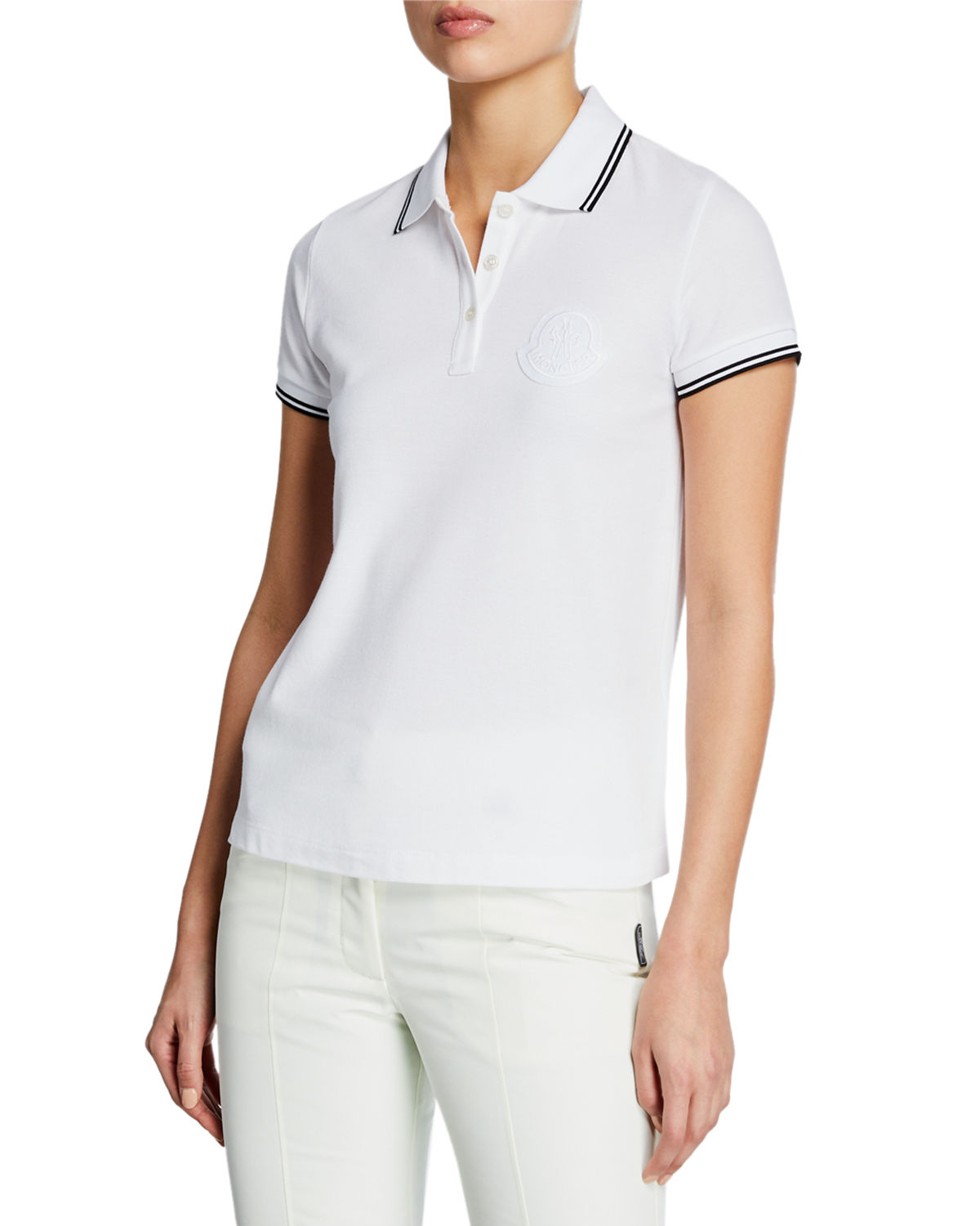 Moncler Large Logo Patch Polo Shirt In White Modesens