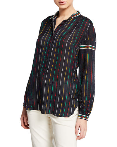 Austin Striped Button-Front Silk Top