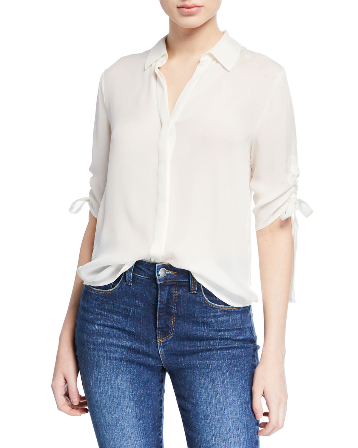 L'agence Tops ISA SHIRRED-SLEEVE COLLARED BUTTON-UP BLOUSE