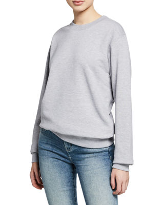 NOTIFY Crewneck Long-Sleeve Cotton Sweatshirt in Gray