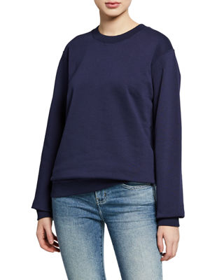 NOTIFY Crewneck Long-Sleeve Cotton Sweatshirt in Navy