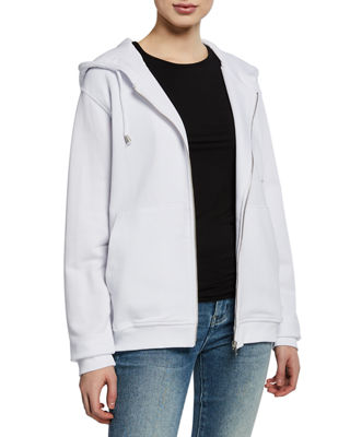 NOTIFY Zip-Front Cotton Hooded Jacket in White