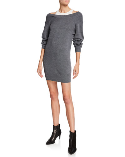 d270a7b3c67 Ribbed Off-Shoulder Mini Sweater Dress with Tank Quick Look. alexanderwang.t