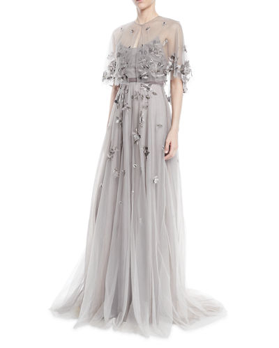 cd97afe100 Marchesa Notte Floral Beaded Tulle Gown w/ Sheer Capelet