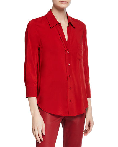 Ryan 3/4-Sleeve Button-Down Blouse