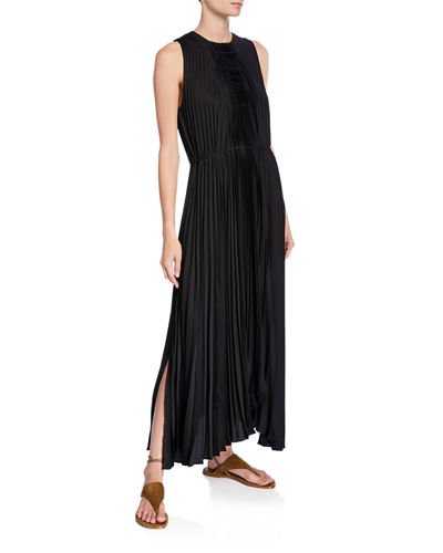 Pleated Scoop-Neck Sleeveless Shift Dress