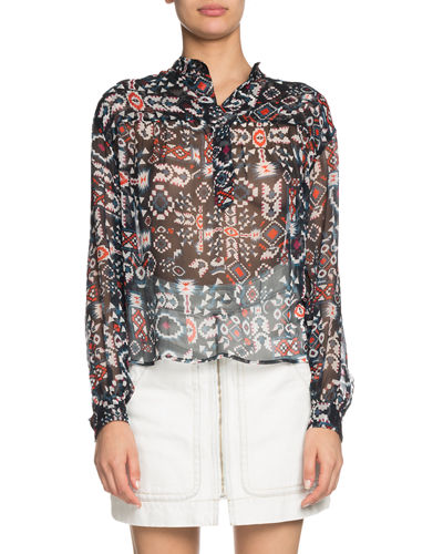 b0b12f8638fc0 Emana Printed Button-Front Sheer Top Quick Look. Etoile Isabel Marant