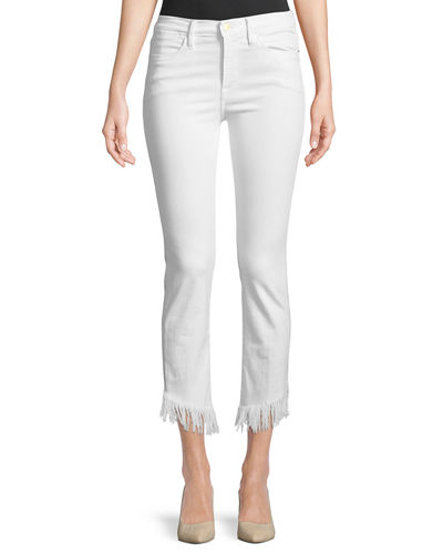 Le High Skinny Jeans w/ Shredded Raw Hem