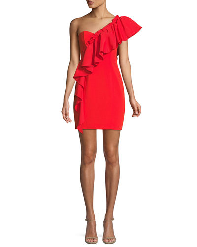 Adrie One-Shoulder Ruffle Mini Cocktail Dress
