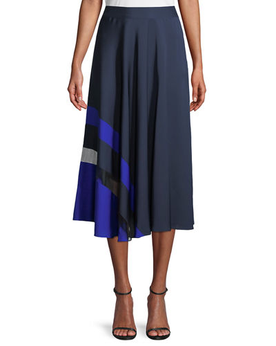 Combo Pleated Stretch-Silk Skirt