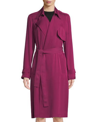56fe250728 Theory Silk Belted Trench Coat
