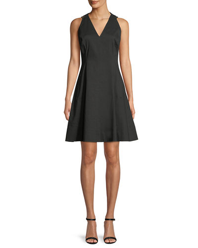 Selene V-Neck Linen-Blend Dress