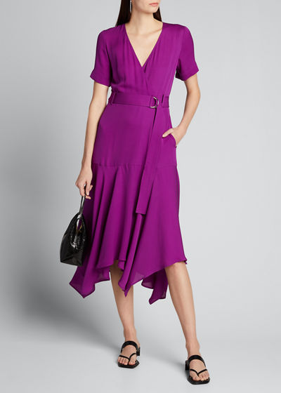 Claire Belted Handkerchief Silk Dress