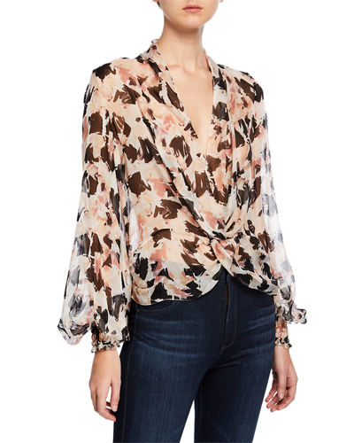 02609615b4c6d9 Promotion Bette Printed Twist-Front Long-Sleeve Blouse