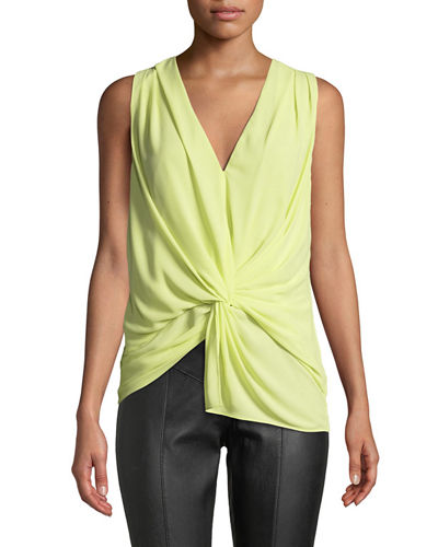 Abby Twist-Front Silk Sleeveless Blouse