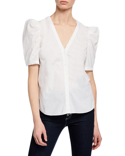 Garland Puff-Sleeve Button-Front Poplin Blouse