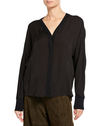 Rib-Trim Silk V-Neck Shirt
