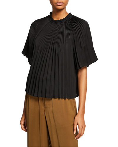 f9f0d23abd0857 Pleated Crewneck Short-Sleeve Top