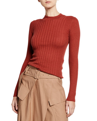 Mixed-Rib Cashmere Sweater