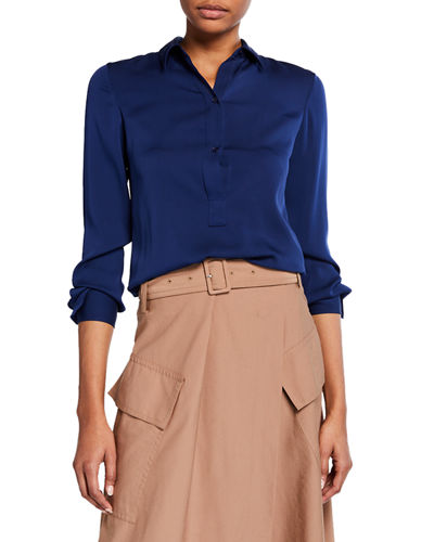 Slim-Fit Silk Button-Front Popover Shirt