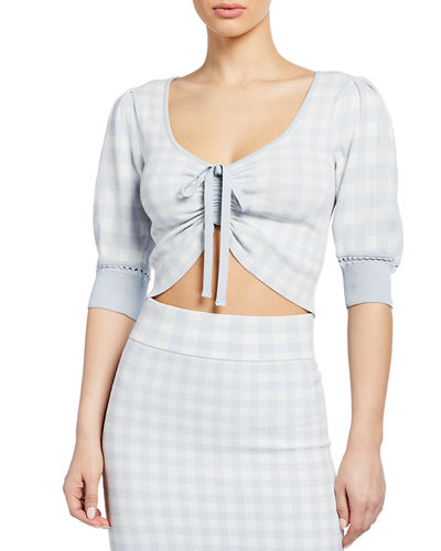 Ruched-Front Gingham Crop Top