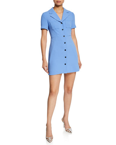 Diane von Furstenberg Rowan Button-Front Short-Sleeve Mini Dress