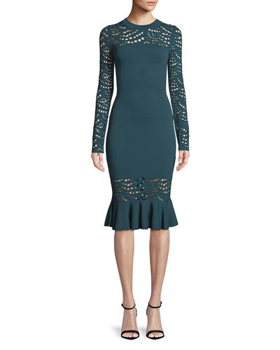 Long-Sleeve Pointelle Lace Mermaid Midi Dress