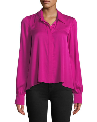 d00f9fade8b251 Penelope Button-Front Long-Sleeve Silk-Stretch Top Quick Look. Milly