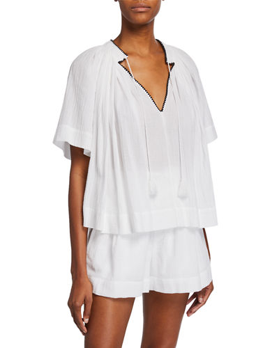 Short-Sleeve Poet Blouse with Tassel-Ties