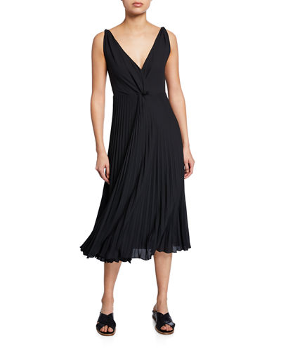 Pleated Twist-Front Sleeveless Midi Dress