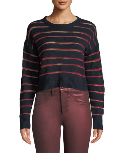 Penn Cropped Sweater with Sheer Stripe Detail