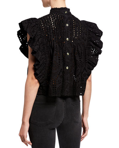 High-Neck Cropped Eyelet Ruffle Top
